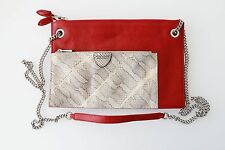 Marc Jacobs Python Leather Clutch Crossbody Bag Red