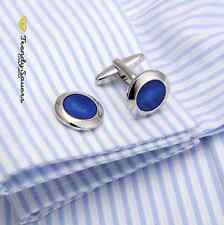 Round Blue Eye Sun Sterling Silver Jewellery Wedding Sleeve Cufflinks Pair #25