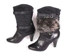 #27D Tamaris Stiefeletten Leder schwarz Gr. 38 abnehmbarer Fell-Besatz Fake Fur