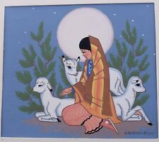 Silkscreen Print Harrison Begay  Woman Lamb Sheep Moon Juniper