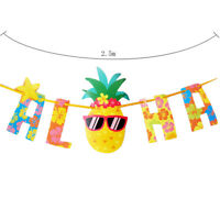 Hawaiian Tropical Pineapple Summer ALOHA Party Banner Garland Bunting Home Decor