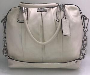 Coach white leather handbag detachable shoulder strap