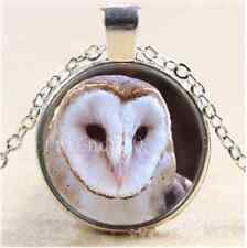 Tibet Silver Chain Pendant Necklace Animal Owl Photo Cabochon Glass