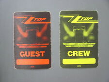 Zz Top satin cloth backstage pass stickers 2 Authentic Eliminator Guest !