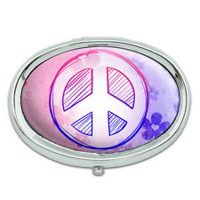 Peace Sign Flowers Pink Purple Metal Oval Pill Case Box
