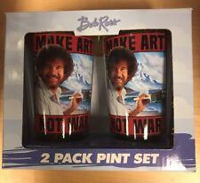 Bob Ross Make Art Not War Cups Pint Glasses Set 16 oz NIB