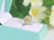 1.50ct Oval-Cut Yellow Diamond Halo Engagement Ring 14K Real White Gold