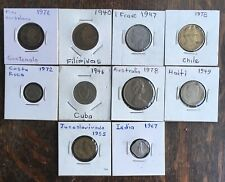 10 Foreign Coins Lot Costa Rica, India Canada Chile, Spain, Australia Get All