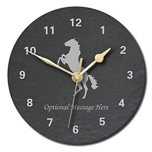 Horse Design Slate Clock - Personalised with text of your choice(Large (300mm)