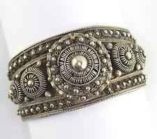 Vintage Silver Etruscan Filigree Beaded Hinged Cuff Bracelet