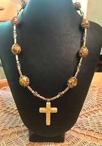 Howlite Cross Necklace & Earrings, Mother of Pearl, Brass Capsules & Amber Glass