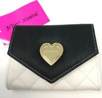NWT Betsey Johnson Wallet Small Quilted White Crm Black Gold Heart Flap MSRP $58