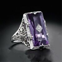 925 Silver Natural Huge 5.2Ct Oval Cut Amethyst Ring Wedding Engagement Size6-10