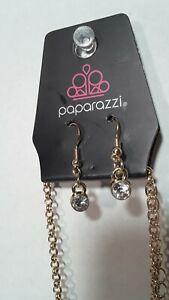 Paparazzi Fashion Jewelry Necklace / Earring Set Gold Alloy Diamond Glass Stones