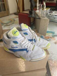 Reebok Court Victory Pump Uni Omni Size 13 Michael Chang White/Blue/Citron
