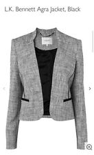 LK Bennett Malena Nero Testurizzato Lana Weave Wrap Blazer Zip Giacca UK 6 a 10