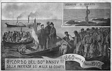 3833) QUARTO (GENOVA) 1860-1910 50 ANNIVERSARIO PARTENZA DEI MILLE DI GARIBALDI.