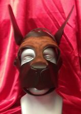 S A L E! OPEN MOUTH PUPPY Leather hood fetish role play mask brown accets  MR
