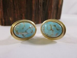 Vintage Gold Plate Turquoise Mens Cuff Links RP1