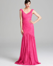 MONIQUE LHUILLIER size 10 Pink Tulle Trumpet Skirt Long Gown Mesh Mermaid Dress