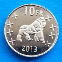 Katanga 10 Francs 2013 UNC Gorilla Monkey unusual coinage