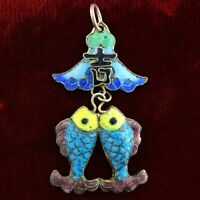 Antique Silver Chinese Export Enameled Kissing Fish Pair 900 Silver Blue Enamel