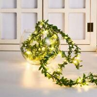 5M Leaves Ivy Leaf Garland 50LED Fairy String Lights Party Decor Wedding R0S9