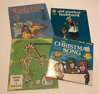 Vintage Records Christmas Story 45 Records Wonderland Cinderella Mother Hubbard