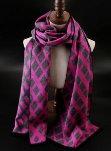 100% Mulberry Silk brushed nap Scarf men Women Wrap Plaids Checks purple QS206-5