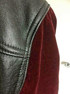 vintage CAMPAGNIA black leather bomber jacket, maroon velvet sleeves  Size 12/14