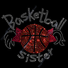 """Rhinestone Transfer """" Basketball Sister """" Pigtails, Cute, Iron-On, Hotfix, Bling"""