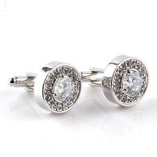 Mens Round Crystal Rhinestone Silver Wedding Cufflinks Business Diamond Cuff