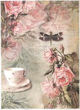 Rice Paper for Decoupage Decopatch Scrapbook Craft Sheet A/3 Vintage Tea & Roses