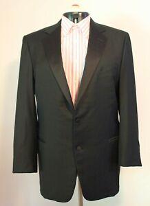 ERMENEGILDO ZEGNA ~ Mens Black Fine Wool Satin Trim Tuxedo Suit Jacket XL