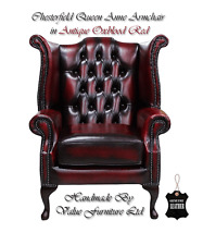 Chesterfield Traditional London Queen Anne High Back Armchair Oxblood Red