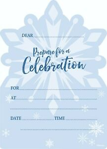 Disney Frozen II Themed Party Supplies Pack of 8 Invitations With Envelopes Snow