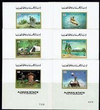 SCOUTISME Ajman rare série de 6 blocs ND de 1971 ** SCOUTING PFADFINDER SCOUT