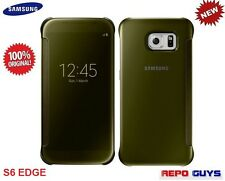 Samsung Galaxy S6 EDGE / SM-G925 Original CLEAR Flip Case Cover GOLD