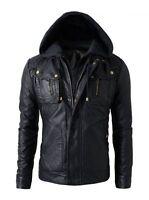 New Men's Motorcycle Brando Style Biker Real Leather Hoodie Jacket - BNWT