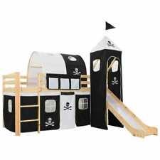 vidaXL Pin Lit Mezzanine d'Enfants avec Toboggan et Echelle Noir et Blanc