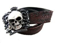 Tobacco Road Royal Skull Rose Buckle Red Italian Leather Belt Rocker Style