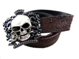 Tobacco Road Royal Skull Rose Buckle Red Italian Leather Belt Rocker Style