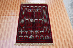Oriental Carpet Hand Finished Bohemian Living Room 2.6x4 ft Wool Red Colour Rugs