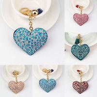 1PC Love Heart Keychain Rhinestone Long Tassel Crystal Key Ring Bag Decor Crafts