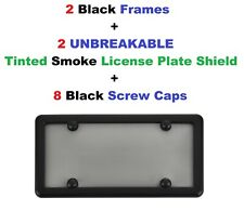 2 Black Frames + 2 UNBREAKABLE Smoke License Plate Shield for Cars & Trucks New