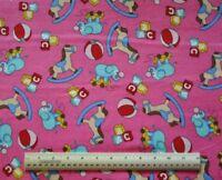 1/2 yard cotton flannel fabric Rocking Horse Pink blocks elephants balls toys