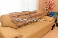 """24x59"""" Beige Coyote Fur SLIPCOVERS FAUX FUR Living Room Decor Sofa Couch Covers"""