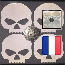 4x White Skulls REFLECTIVE Motorcycle Helmet Stickers SAFETY HiViz France Regula