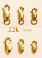 Real 22k 916 solid gold lobster lock clasp 3 size: Large Medium Small