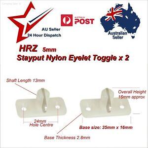 2x Stayput Fasteners Horizontal Single HRZ 5mm Stay Put T Toggle tarp eyelet van